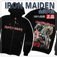 2011 autumn and winter male 100% cotton iron maiden zipper hooded outerwear pull cap sweatshirt