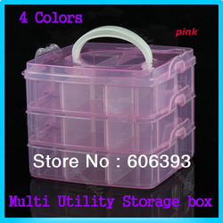 1PCS Multi Utility Storage Case Box 3 Layer Nail Art Craft Fishing Makeup Tool Free Shipping(China (Mainland))