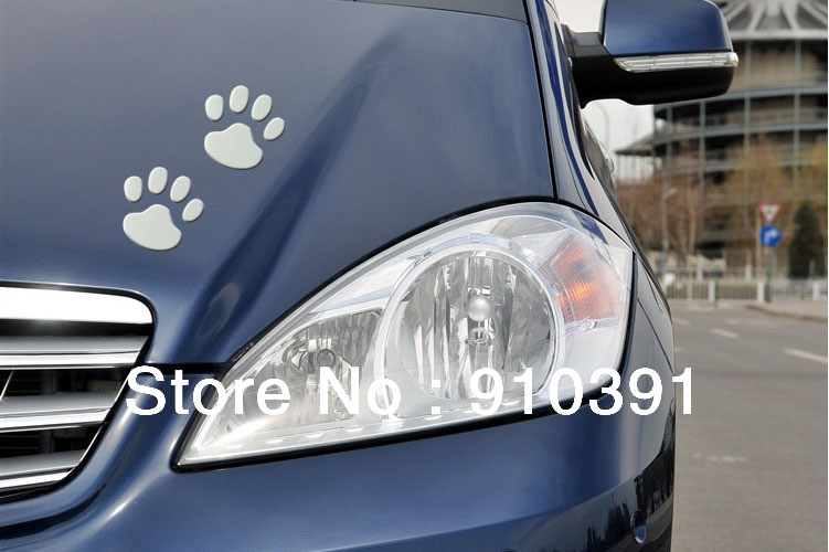 Free shipping PVC 3D car sticker,Cartoon bear dog footprints car decals as decoration stick for car auto accessory.(China (Mainland))
