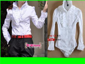 Ol offiece Ladies shirt white flower  women's long sleeve shirt stand collar one piece shirt body shirt women