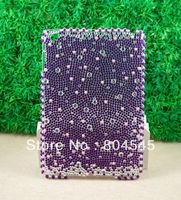 Full Bling rhinestone Pearl Hard Back cover Case for Apple iPad mini Purple P190