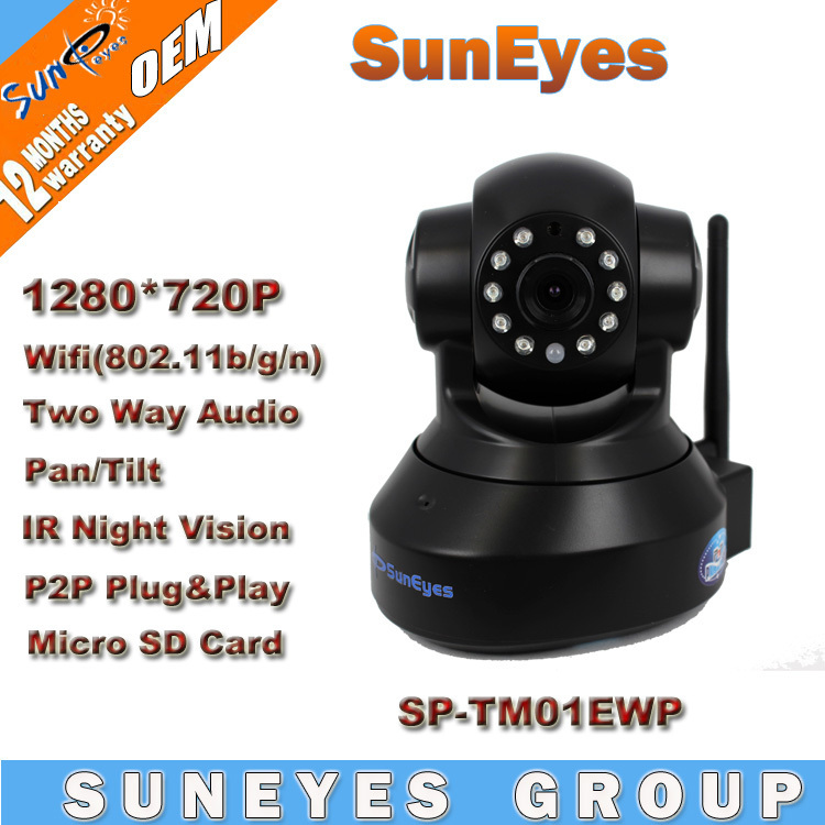 SunEyes 1280*720P 1.0 Megapixel Wireless IP Camera Support Pan/Tilt Two way audio tf card and Plug Play SP-TM01EWP(China (Mainland))