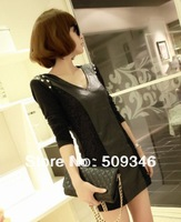 Женское платье Fashion Women Ladies Short Dresses Long Sleeve Spring Autumn Solid Black Coffee Gray
