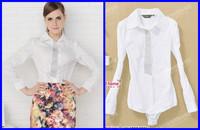 All-match women's long sleeve shirt white office lady body shirt  women