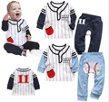 free shippin Children's clothing cool baseball long sleeve length pants baby boy infant casual sports set kid two-piece suit