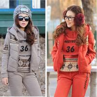 36 Code women's casual 3 piece set clothes thickening fleece hoodie vest sweatshirt +vest +pants sport suit pant