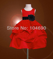 Free ship Custom Holiday  Black belt bow Flower girls dress Princess skirt Ball girl red