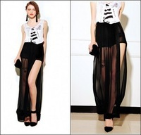 Fashion Woman High Waist Floor-Length Furcal Bohemian Long Skirts Sexy Black Perspective Skirt