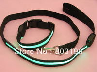 Free Shipping Black Band LED Dog Collar and Leash 8 Color Combinations for choice