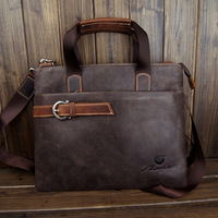 2013 Hot Sell Crazy Horse Leather Men's Brown Messenger Cross Body Shoulder Bag