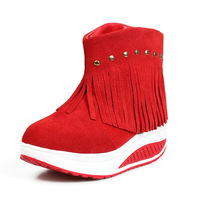 """cady-s"" trendy winter leather tassel platform boots shoes womens with plush rivets size 35-40 (Black, Brown, Red) free shipping"