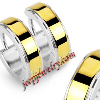 316L Stainless Steel Gold Plated Hinged Hoop Earrings