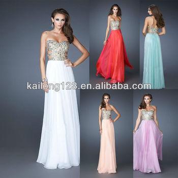 Sassy Strapless A-line Skirt Sequin Stones Bodice Apricot Lavender Seafoam Watermelon White Chiffon Prom Dress