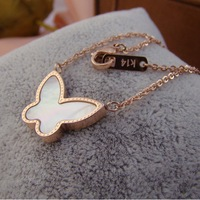 High Quality Butterfly Shell Rose Gold Titanium Steel Necklace For Women