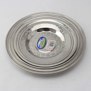 Stainless steel thick 18-26cm disc dish grill plate dessert plate cooking plate barbecue plate(China (Mainland))
