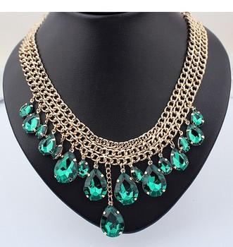 2014 Fashion Waterdrop Rhinestone Big Crystal bib necklace Jewelry SPX2232 E-JOY LIFE