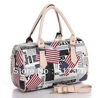 American flag printed retro female Shuitong portable shoulder bag Messenger bag women handbag