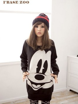 East Knitting AA-072 2014 Fashion Women New Tops Ladys Cartoon Mouse Print Hoodies Plus Size 3color Free Shipping