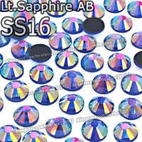 SS16 3.8-4mm,1440pcs/Bag Lt.Sapphire AB Blue DMC HotFix FlatBack Rhinestones,machine cut iron-on garment crystal stone parts