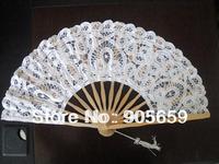 (100 pcs/lot) Handmade 10.6'' Solid White Color Bridal Wedding Fans