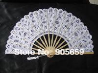 (100 pcs/lot) Handmade 10.6'' Solid White Color Bridal Wedding Hand Fans