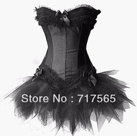 Free shipping! Sexy strapless corset shaper sexy bustier tutu skirt white/black/red S~XXL