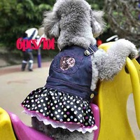 6pcs/Lot Free Shipping Hot Fashion Pet Dog Clothing Lace Heart Apparel Clothes Lovely Costume Jeans Dog Skirt 3799