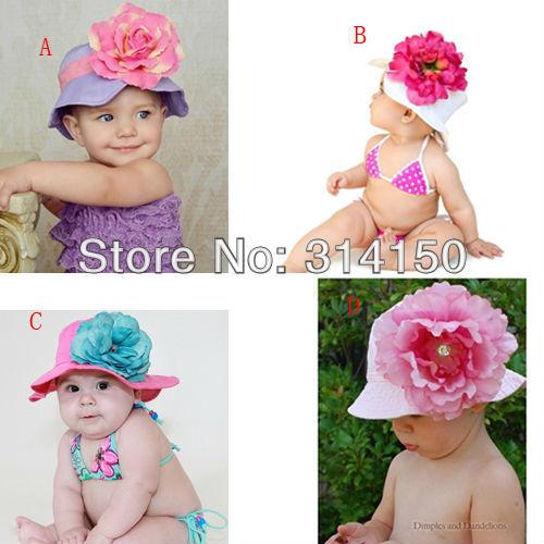 FREE SHIPPING----fashion pretty sunhat for girl summer wear children big flowers design cotton sunbonnet girl sunhat 1pcs h1803(China (Mainland))
