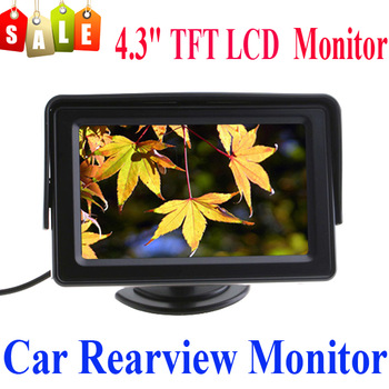 4.3 inch Color LCD Car Rearview Reverse Monitor with LED blacklight 2 video input for Camera DVD VCR,free shipping drop shipping