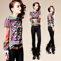 New Fashion 2012 Lady's Europe Stylish Pots Printed Blouses Women Top Quality Long Sleeve Vintage Colorful Blouse/Shirts