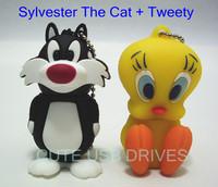 Looney Tunes Sylvester The Cat + Tweety Real Capacity Flash Drive 2GB/4GB/8GB/16GB USB 2.0 Memory Stick Pen Strive