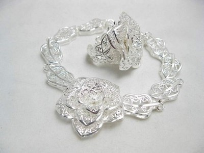 CHARM SILVER PLATED COCKTAIL FLOWER BRACELET & RING SET(China (Mainland))