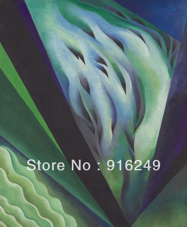 Gratis pengiriman ! handmade biru dan hijau lukisan musik georgia o