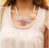 Free Shipping Jewelry Pearl Flower Necklace