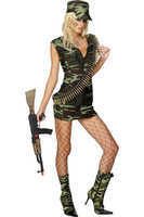 Free Shipping wholesale.2PCS Super Cool Military Costume for Women fancy dress+ hat LB2373