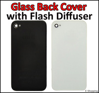 AT&T 4G GSM Glass Cover Black and White Battery Door Panel Housing with Flash Diffuser Chrome Ring for iPhone 4G