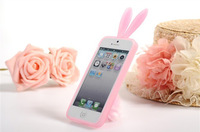 Free shipping soft TPU case for iphone 5 with rabbit design cover case