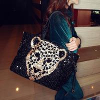 2013 NEW fashion bling leopard head shoulder messenger bag casual women's handbag bag motorcycle  free shipping