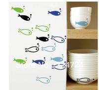 dull polish10set wholesale =40pcs fish+80bubbles hight quality cartoon creative glass window bowl mirror door free shipping