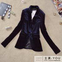 2013 spring women's outerwear star gold velvet slim medium-long blazer suit
