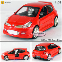 New Renault Clio 1:32 Alloy Diecast Model Car With Sound&Light Red Toy collection B192c