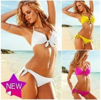 2013 Summer Women's Push up swimwear bikini set S-M-L 6 Colors Free Shipping Drop Ship(white,black,green,yellow,fusia,orange)