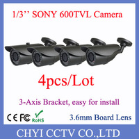 4pcs/lot 1/3'' Sony 600TVL 3.6mm Board Lens 23pcs IR LED Outdoor IP66 waterproof IR Bullet Camera with 3-Axis Bracket