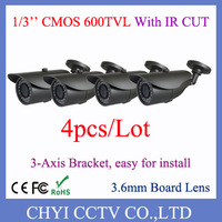 4pcs/lot 1/3'' CMOS 600TVL 3.6mm Board Lens 23pcs IR LED Outdoor IP66 waterproof IR Bullet Camera with 3-Axis Bracket