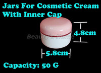 50g jars for cosmetic cream pink cap refillable bottle Transparent Small Empty Bottle Wholesale free shipping#1071