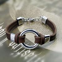 Free shipping!Cow Genuine Leather Round Shape Bracelets ,wholesale  wristband bracelet  Best gift for friend Fashion jewellry