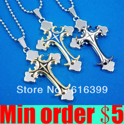 (Min order $5,can mix) 3 Colors Stainless Steel Double Cross Necklace With Chain Man Necklace Free Shipping(China (Mainland))