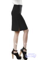 Spring and summer autumn placketing medium skirt black short skirt women's work wear a