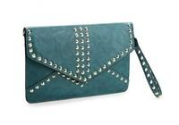 H1280 ZZ Chic Elegant Rivet PU Clutch Bag With Long Strape lpad Case blue green black brown FREE SHIPPING DROPSHIP WHOLESALE