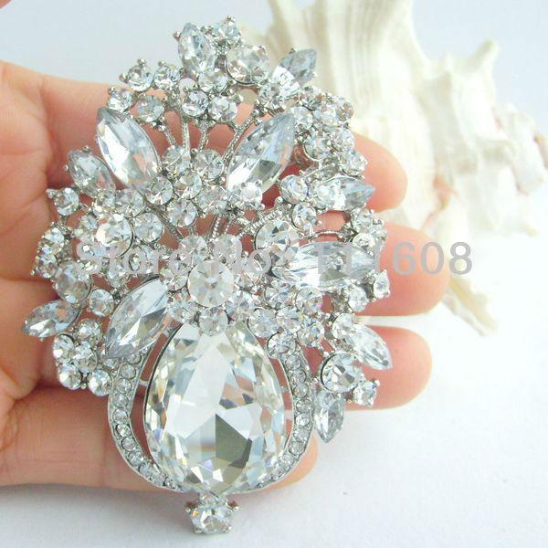 Bridal Costume Jewelry Bouquet Wedding Bridal Rhinestone Crystal Flower Brooch Pin Bridesmaid